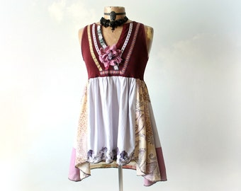 Hippie Scarf Top Bohemian Chic Burgundy Tunic Retro Clothing Boho Women's Blouse Up Cycled Fashion Fit Flare Shirt Eco Friendly XS S 'BAILEY
