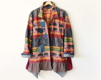 Plus Size Jacket Colorful Boho Coat Upcycled Clothing Denim Patchwork Bohemian Clothes Gypsy Peasant Altered Couture Art To Wear 2X 'BRIELLE