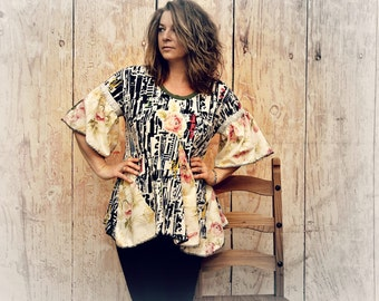 Bohemian Chic Top Plus Size Tunic Loose Fitting Funky Boho Shirt Eco Friendly Clothing Hippie Festival Art Clothes Lagenlook Top XL 1X KEIRA