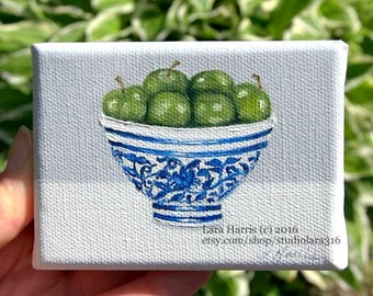 CUSTOM How About These Apples....Ming Bowl of Green Apples Painting in OIL by Lara ACEO 3x4