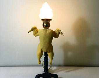 Steampunk table lamp, dancing chicken lamp,  flame glass shade, poultry punk industrial pipe lamp