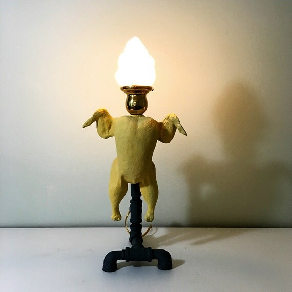 Steampunk table lamp dancing chicken lamp flame glass