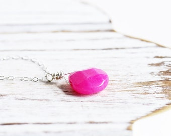 Hot Pink Necklace - Pink Teardrop Necklace, Candy Jade Gemstone Pendant on Sterling Silver Chain, Fuchsia Pink Stone Necklace, Stone Jewelry