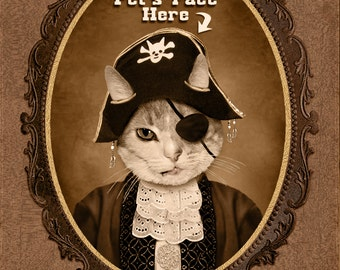 Custom Vintage Image of Pet, Custom Pet Portrait, Pet Lover Gift, Perfect Gift Dog Cat Lover, Funny Gift,  Pirate Portrait, Christmas Gift