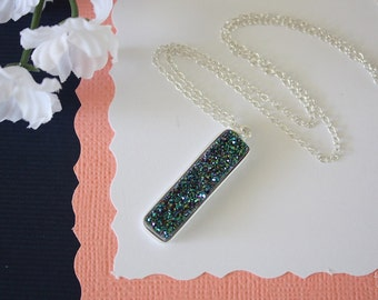Green Druzy Necklace, Crystal Necklace, Thin Druzy Pendant, Sterling Silver, Green Pendant, Natural, Natural Stone, DRZY16