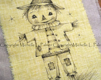 Large Original Pen Ink on Fabric Illustration Quilt Label by Michelle Palmer Scarecrow Harvest Halloween Fall Little Boy Patches
