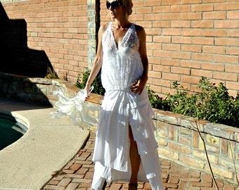 Gypsy Wedding Dress-Alternative Wedding-Unique Wedding Dress-Bohemian Wedding Dress-Alyssa One of a Kind Layered-Ruffled Taffeta Wrap Skirt