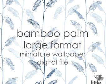 "Digital Download ""Bamboo Palm - large"" - miniature dollhouse wallpaper"