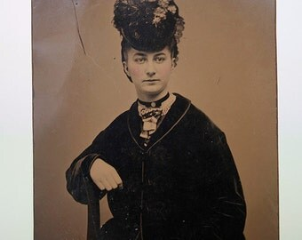 Beautiful Portrait of a Lady Tintype Photograph 19th Century Fashions with Great Hat Free US Shipping