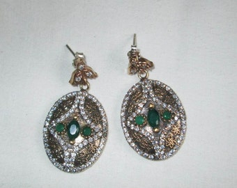 EARRINGS - Exquisite - Triple   - EMERALDS - Czs - Two Tone - Sterling Silver  - Post - 925 -Dangle earrings 355