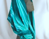 Flowing Silk Velvet Cowl in jewel tones of green
