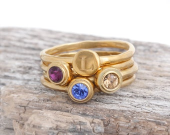 Mother's Birthstone Ring with Initial.  Set of 4 Stack Rings in 24K Gold Vermeil.  Stacking Birthstone Rings and Stack Initial Ring.