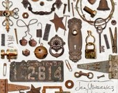 Rusty Junk digital scrapbooking graphics / clipart / altered art / mixed media collage / instant download / printable