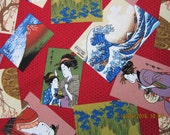 ASIAN WOMEN FABRIC Geisha Fabric Trans-Pacific Textiles - Rare Scattered Asian Scenes on Red - 1 Yard - #A29