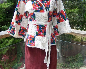 Crochet Sweater, Patchwork sweater, Crochet Wrap, Retro cardigan, Vintage sweater, size S / M