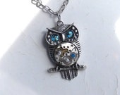 Steampunk Goddess Athena Owl Light Turquoise Crystal Necklace Vintage Watch Movement