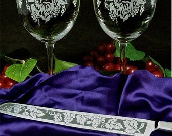 Vineyard Wedding Set Wine Glass, Cake Server. Wine Lovers Wedding, Winery Wedding Gift Present for Couple