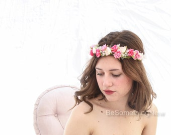 Pink and White Flower Crown, Woodland Wedding Hair Halo Boho Wedding Flower Girl Wreath Music Festival Crown