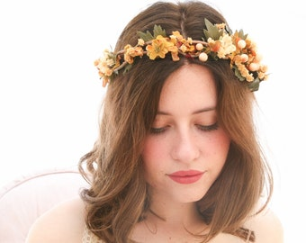 Fall Rustic Floral Crown of in Yellows and Golds Woodland Wedding Hair Halo Flower Crown Autumn Boho Wedding Bridal Hair Wreath