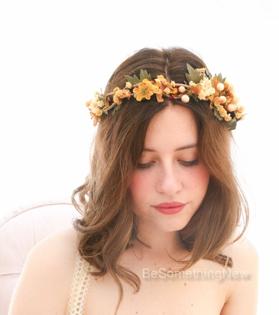 Fall Wedding Hairstyles With Flower Crown: Fall Rustic Floral Crown Of In Yellows And Golds Woodland