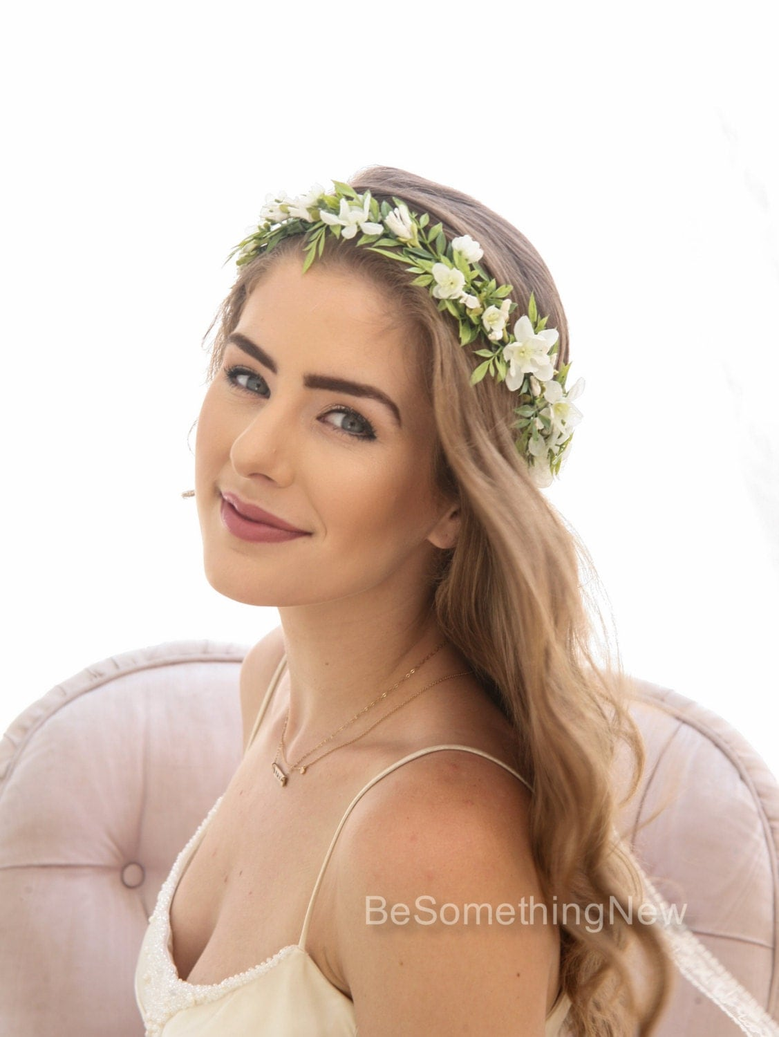 flower crown wedding hair green leaf rustic floral crown with ivory flowers woodland 4156
