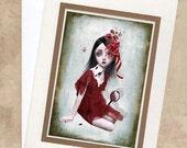 Greeting Card & Envelope -  Big Eyed Girl And Butterflies - Porcelain