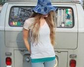 Vintage Blue Floppy Sun Hat