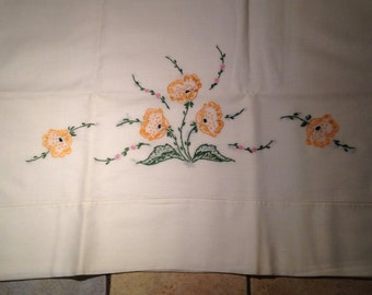 Pair of Hand Embroidered Golden Poppy Pillow Cases