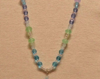 SALE - 75% OFF - By The Sea Necklace Glass Bead Necklace