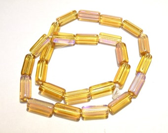 40% OFF -- DESTASH - 25 Topaz Glass Tube Beads with AB Coating -- Lot 3A