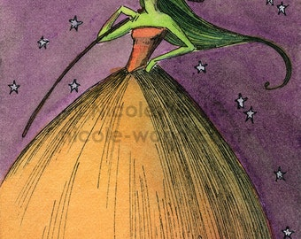 Original ACEO Watercolor Painting and Ink Drawing Artwork -- The Witch's Night
