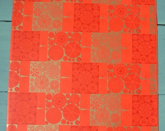 Vintage Mid Century Modern Red Gold Christmas Wrapping Paper Full Sheet