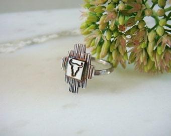 Southwest Longhorn Ring in Sterling Silver