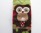 Ready To Ship  - Owl On A Branch Hanging Kitchen Towel - Brown Owl Kitchen Towel - Owl Button Top Kitchen Towel - Owl Fabric Top Towel
