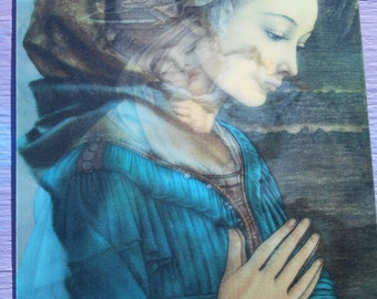 Vintage holographic dream like transforming print of the Madonna Mother Mary baby Jesus egim srl Milano Italy kitschy cool art oddity
