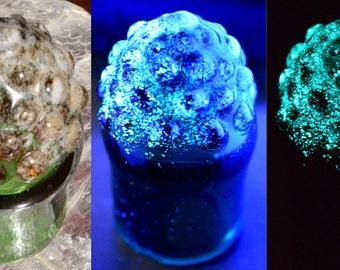 Glass Jar in Green with Glow in the Dark Dewdrop Tip - Trippy Handblown