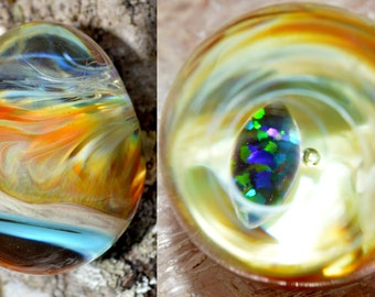 Glass Egg with Encased Black Opal Marquee over Slyme and Amber Purple Fire - Handblown