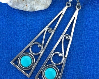 Vintage Modern Silver Drop Earrings with Faux Turquoise Stones Art 60's Retro 70's Boho