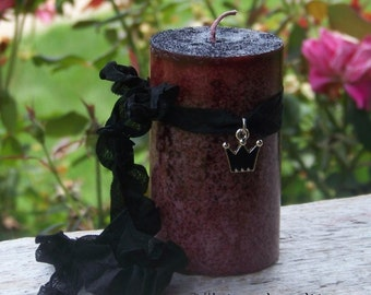 """WITCH QUEEN Triple Crown Charmed """"Old European Witchcraft""""™ Deep Mauve Cranberry Red Pillar Candle"""