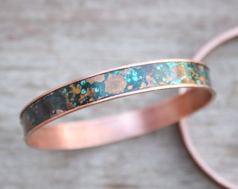 Patina Bangle Bracelet, Blue Patina Copper Bracelet, Boho Bracelet,