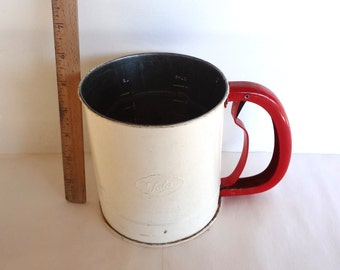 Vintage 4 Cup Flour Sifter White And Red Tala Brand Made In England Functional Cottage Chic