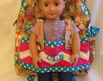 Doll Carrier in Woodland Creatures with coordinating accents