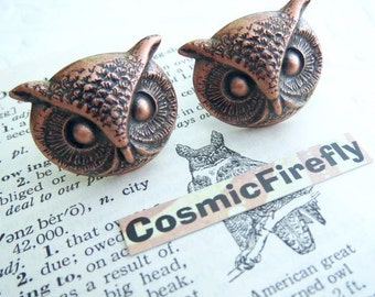 COPPER Owl Cufflinks BIG & Bold Gothic Victorian Steampunk Style Vintage Inspired Men's Accessories Large Size Men's Cufflinks Art Deco