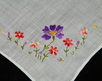 Vintage 1940's Hand Embroidered Pink & Purple  Floral Wedding Handkerchief, Hankie, Hanky, Pocket Square, 9765