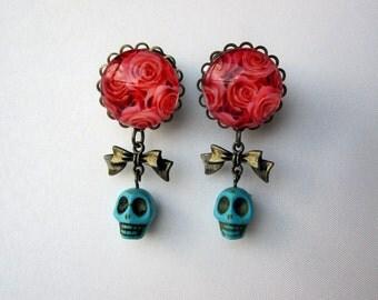 Earrings - Pair of Rose Art Earrings with Bows and Turquoise Skull Bead Dangles - Handmade Girly Earrings