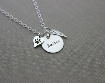 Pet Name Memorial necklace Sterling silver angel wing Dog Paw heart necklace  Loss Sympathy necklace - Remembrance  Paw Print - Personalized