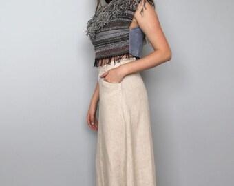olema -- beautiful vintage long linen 80s skirt M