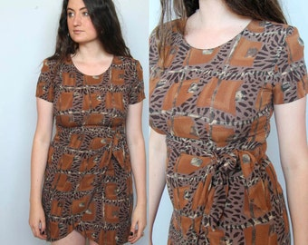 moon weaver -- vintage 80's ethnic graphic rayon faux wrap dress size M