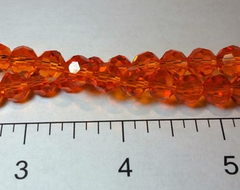 8mm Round Faceted Fire-Polished Czech Crystal Beads – Tangerine (Orange)