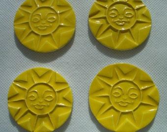 M2 - Stamped YELLOW SUNS - Ceramic Mosaic Tiles
